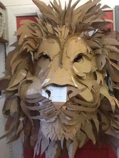 Aslan in progress, cardboard lion mask