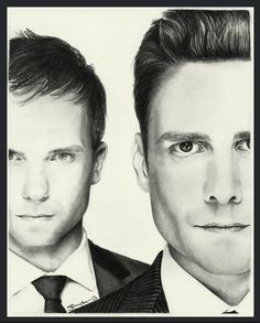 Newest drawing of Patrick J Adams and Gabriel Macht or Mike Ross and Harvey Specter if you prefer, From the TV show Suits. Mech pencil on Bristol, as us. Suits Usa, Gabriel Macht, Harvey Specter, Ross Draws, Patrick J Adams, Snake Drawing, Suits Tv Shows, Fan Picture, Ex Husbands
