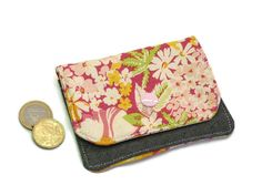 Small Wallet, Mini Wallet, Womens Wallet, Travel Wallet, Minimalist Wallet, Pink Thin wallet, Credit card holder, Headphone holder by DriSewing on Etsy
