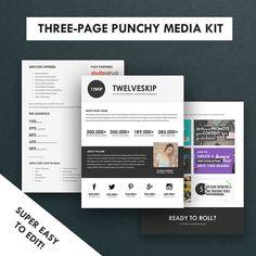 minimalist media kit template press kit 3 pages