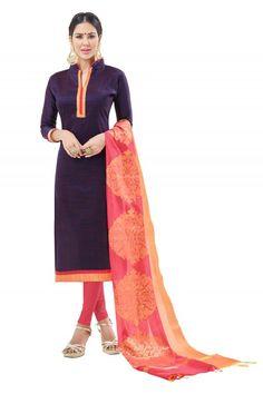 Office Wear Purple Semi Cotton Salwar Suit  - FLORINA1012