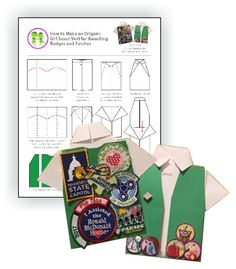 Origami Shirt Download for Awarding Badges and Patches. Try this creative way to award your patches and badges to your girl scouts. Free printable available at MakingFriends®.com. Check out our selection of patches... just $.69 each.