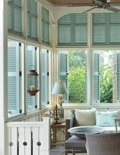 Turquoise Shades in Sunroom