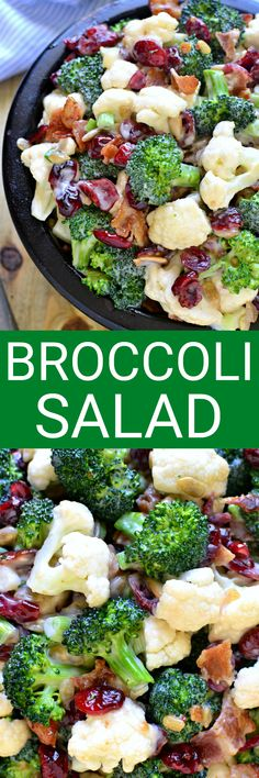 The BEST Broccoli Salad recipe - loaded with fresh broccoli, cauliflower, green onions, bacon, sunflower seeds, dried cranberries, and a lightened up honey mustard dressing. This salad is perfect for summer cookouts and picnics - a definite crowd pleaser! Best Broccoli Salad Recipe, Broccoli Cauliflower Salad, Fresh Broccoli, Broccoli Florets, Broccoli Salads, Healthy Brocolli Salad, Brocolli Salad With Bacon, Best Coleslaw Recipe, Vegetarian