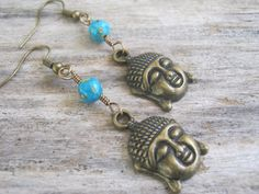 Turquoise Buddha Earrings Buddhist Earrings by Abundantearthworks, $11.85