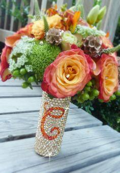 Wedding bouquet ideas - bouquet handle with monogram swarovski crystals