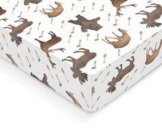 Woodland Crib Sheet - Deer Bear Moose Fawn Woodland Crib Sheet - Boy Crib Sheet - Crib Bedding - Newborn Bedding for Boys - Baby Bedding by OrangeBlossom805 on Etsy https://www.etsy.com/listing/262850199/woodland-crib-sheet-deer-bear-moose-fawn