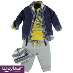 Part of the Babyface Newborn boys WINTER 2015 collection. In stores from July 2015. T-shirt, shirt, cardigan, pants and hat.