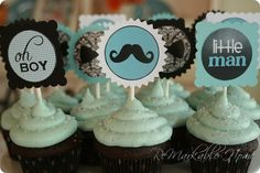 Little Man baby shower cupcakes with mustache and bow-tie party circles