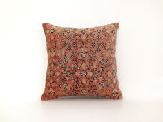 Wool Kilim Cushion Cover Ethnic Home Decor Old Pillows Authentic Pillow Throw Pillow Accent Pillow Turkish Kilim Bohemian 16''x16'' by artgrandhome on Etsy