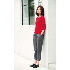 サニークラウズ 綿ニットの重宝セーター〈レディース〉赤|フェリシモ