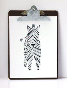 Zeek Zebra Illustration by Stacie Bloomfield - Safari Collection. $20.00, via Etsy.