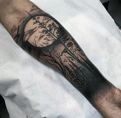Mens Forearm Sleeve Forest With Moon Tattoo
