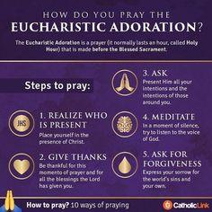 catholic-link: 10 ways to pray: Eucharistic Adoration by… Catholic Prayers, Adoration Catholic, Catholic Beliefs, Catholic Quotes, Catholic Kids, Roman Catholic, Catholic Answers, Christianity, Catholic Catechism