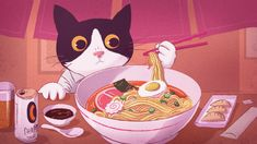Free Art - Cat using chopsticks to eat a bowl of ramen - Mixkit