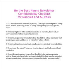 confidentiality checklist 1 do not gossip about private family issues 2 do