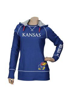 17. Kansas Jayhawks Adidas Womens Blue Long Sleeve Pullover Hooded T-Shirt