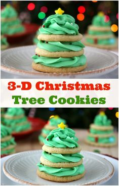 Christmas Tree Stacked Cookies and Buttercream Frosting! Check out this EASY stacked Christmas tree cookie recipe. An awesome Christmas tree cookie recipe! Sugar Cookie Recipe Cream Of Tartar, Butter Cookies Recipe, Best Sugar Cookies, Buttercream Recipe, Frosting Recipes, Cookie Recipes, Dessert Recipes, Holiday Baking, Christmas Baking