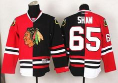 #65 Blackhawks Andrew Shaw Red/Black Split Stitched NHL Jersey