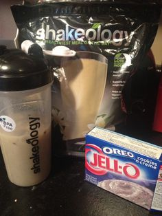 Two spoonfulls of Oreo pudding powder. One scoop vanilla shakeology. 12 ice cubes and 12 oz of water. Cookies and creme!
