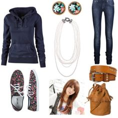 Perrfect fall outfit. It's cozy and warm but it's cute, and it still pops a little (with the help of those vans) [: