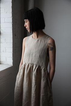 Irina Washed Linen Dress - Natural | cendre