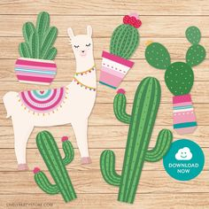 Llama cake topper with cactus. Pink and green llama and cactus toppers. Printable PDF file with multiple designs - Baby party ideens Alpacas, Bunny Ear Cactus, Cactus Cake, Cactus Cactus, Rosalie, Llama Birthday, Fiesta Decorations, Spring Party, Printable Designs