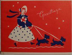 30s Art Deco Girl Walking Her Scottie Dogs Vintage Christmas Card 1221 | eBay