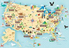 illustrated map of us national parks by nate padavick idrawmapscom