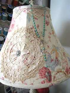 I love to decorate lampshades ~~ in my sewing room.