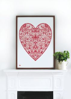 My Heart  decorative screen print by boldandnoble on Etsy, £43.00  --   scandinavian-inspired screen print