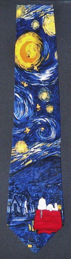 PEANUTS Mens Tie Goodnight Vincent Woodstock Snoopy Starry Night van Gogh #LooneyTunes #NeckTie