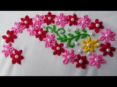 Hand Embroidery: Embroidery for Beginners/Lazy Daisy stitch -. Informations About Hand Embroi Crewel Embroidery Kits, Hand Work Embroidery, Simple Embroidery, Embroidery Needles, Hand Embroidery Designs, Embroidery Patterns, Butterfly Embroidery, Learn Embroidery, Embroidery Dress