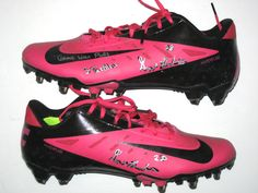 Bill Bentley Detroit Lions Rookie Game Worn   Signed Breast Cancer  Awareness Pink Nike Cleats (Worn Vs Eagles 2ee60ec10dc