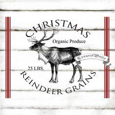 Vintage Christmas Reindeer Grain Sack Large A4 by CreatifBelle