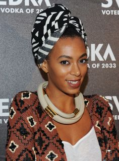Solange Knowles is the master mixtress when it comes to prints, and this turban wrap would look so chic poolside.