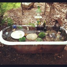 Fairy Garden in old cast iron tub! Mini Fairy Garden, Gnome Garden, Fairy Gardens, Outdoor Landscaping, Outdoor Gardens, Cast Iron Tub, Bloom Where Youre Planted, Vintage Gardening, Outdoor Baths
