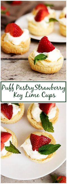 Try these Spring-themed puffed pastry strawberry key lime cups! #ad #InspiredByPuff @PFPuffPastry via @berlyskitchen