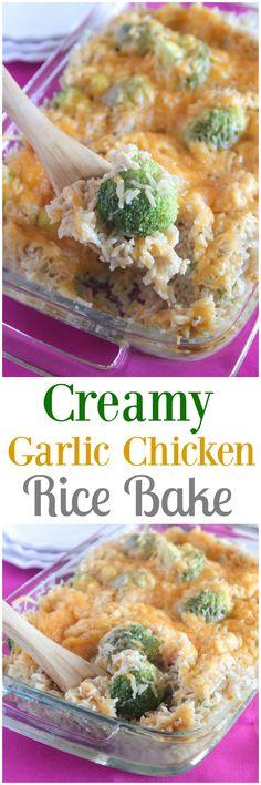 Creamy Garlic Chicken Rice Bake!  Simple weeknight dinner!