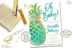 Invite your guests to the baby shower with these gorgeous bright watercolor turquoise and gold glitter invites. These gold glitter pineapple printable invitations are perfect for a beautiful tropical or summer bridal party. Our templates are easy to edit with acrobat Reader. INSTANT DOWNLOAD - Gold Glitter Turquoise  Watercolor Pineapple Tropical Baby Shower Printable Invitation. Find more coordinating printables at JanePaperie: https://www.etsy.com/shop/JanePaperie
