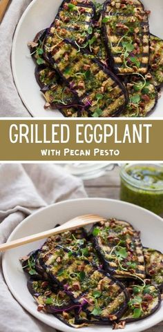 This grilled eggplant with pecan pesto is deliciously satisfying for a summertime side dish or plant-based main! #vegetarian #summer #recipes
