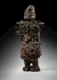 Bakongo Statue, Democratic Republic of the Congo, Late century. Wood, metal, pigments and vegetal fibres. Height 53 cm in. Art Through The Ages, Classical Art, Republic Of The Congo, African Art, 19th Century, Lion Sculpture, Statue, Fine Art, Gallery