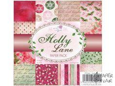 Hübsches Scrapbooking Holly Lane. Ideal zum Basteln von Karten. ► Muster: Winter, Weihnachten, Advent ► 12 Designs ► 36 Blatt einseitig bedruckt ► Größe: 15x15cm ► Säure/Ligninfrei