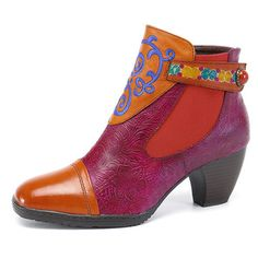 Designer SOCOFY Bohemian Splicing Plant Pattern Zipper Ankle Leather Boots - NewChic Mobile