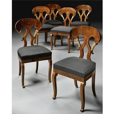 A set of six Biedermeier mahogany and parcel-gilt dining chairs circa 1820, in the manner of Danhauser Artfact.com