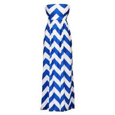 Blue&White Stylish Ladies Women Strapless Wave Striped Sexy High Waist Party Full Evening Casual Dresses