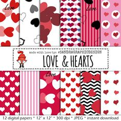 """New to SandraGraphicDesign on Etsy: Digital paper """"HEARTS PATTERNS""""  with beautiful hearts in red and pink colors (1127) (4.00 USD)"""