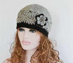 Womens Grey Beanie Hat Warm Chunky Hat Crocheted by slouchiehats