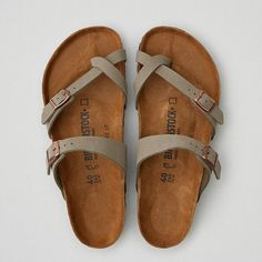 Birkenstock Mayari Sandal ($95) ❤ liked on Polyvore featuring shoes, sandals, grey, two buckle sandals, gray sandals, gray shoes, double buckle shoes and grey shoes