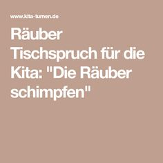 """Räuber Tischspruch für die Kita: """"Die Räuber schimpfen"""""""